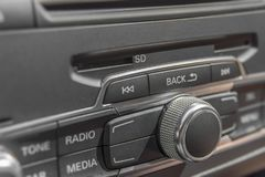 Car radio stereo panel and modern dashboard electric equipment stock image
