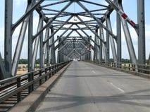 Car and railway iron bridge Royalty Free Stock Photo