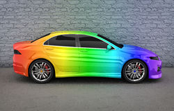 Car in rainbow colors Stock Photography