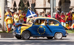 Car at rally demanding independence for Catalonia. Barcelona royalty free stock photography