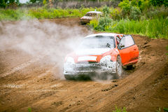 Car rally stopped between racetrack Stock Photography