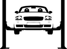 Car ramp. Vector illustration of a car on a hydraulic ramp Stock Photo