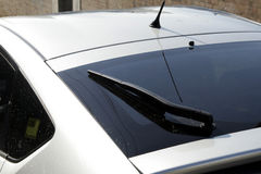Car Rear. Back Window Of A Modern Silver Car, Black Windscreen Wiper stock photography