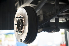 Car Rear drum brake without tire. Stock Image