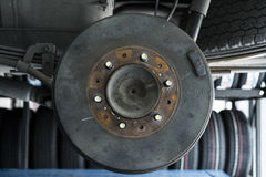 Car Rear drum brake without tire. Royalty Free Stock Photos