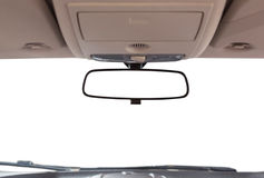 Car rear view mirror. Car rear view mirror inside the car stock image