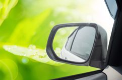 Car and rear view mirror Stock Image