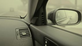Car rear-view mirror stock footage
