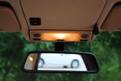 Car rearview mirror with lights Stock Image