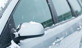 Car with recently removed snow Stock Photo