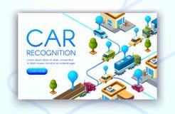 Car recognition technology vector illustration stock illustration