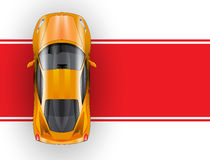 Car on the red carpet vector icon. top view Stock Photography