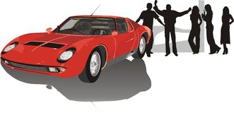 Car of red color and silhouettes of youth Stock Photo