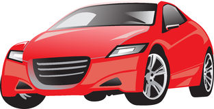 Car2_red_full_street_vector Royalty Free Stock Photo