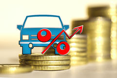Car and red percent sign on a background of money . The concept of change of car prices stock photo