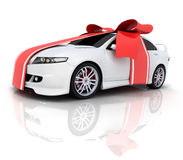 Car and red ribbon. (done in 3d Stock Photos