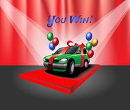 Car with Red Ribbon and Balloons Royalty Free Stock Photography