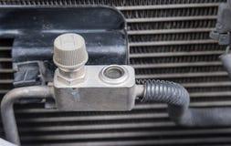Car refrigerant valve,Check refrigerant car. Stock Photos