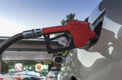 Car refuel. Refueling car with gasoline at gas station Stock Photo