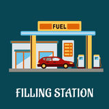 Car refueling at a filling station. Family car refueling with gasoline at a filling station, flat style Royalty Free Stock Photo