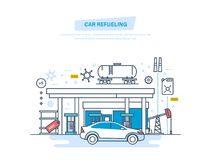 Car refueling with gasoline at filling station. Car service, shop. Fuel and gas petrol station. Petroleum systems development. Oil industry, factory, warehouse Stock Image