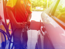 Car refueling on a petrol station Royalty Free Stock Photography