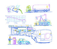 Car refueling turn, drawings by hand Royalty Free Stock Photo