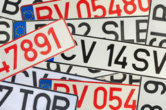 Car registration plates stock photo
