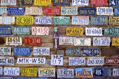 Car registrations. Moab, United States - August 11, 2008: Car registrations and coke cartel, icons USA Stock Photos
