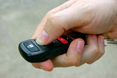 Car Remote in Hand Royalty Free Stock Photos