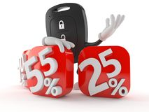 Car remote key character behind percentage signs. Isolated on white background Stock Images