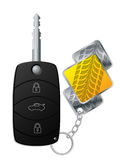 Car remote with tire tread keyholder Royalty Free Stock Image