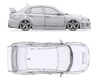 Car rendering in lines Stock Photo
