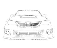 Car rendering in lines Stock Photography