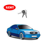 Car for rent with car key isolated on white background. Stock  illustration Stock Photos