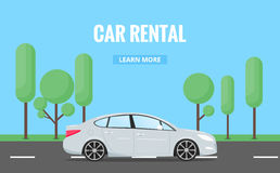 Car rent. Modern automobile in trendy style with typography for advertisement, web projects etc. Banner of car rental Stock Photography