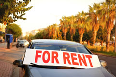 Car for rent in the street Royalty Free Stock Photo