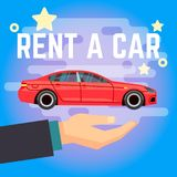 Car rent vector illustration. Hand with flat-style red car on blue background. Rent car template banner Stock Photos