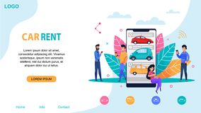 Car Rent Website Template. Ride Sharing Station. People Character near Smartphone with Carsharing Application. Modern Company Service Layout. Public Transport vector illustration