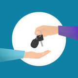 Car rental. Concept in flat style. Human hand holding car key Royalty Free Stock Photography