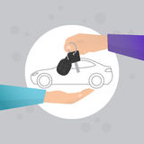 Car rental. Concept in flat style. Human hand holding car key with contour car on the backgroung Stock Photos