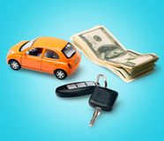 Car Rental. Car Currency Car Key Finance Savings Sports Utility Vehicle royalty free stock photography