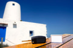 Car rental keys on wood table in Formentera Stock Images