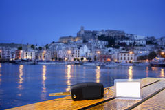 Car rental keys on wood table in Ibiza town Royalty Free Stock Photos