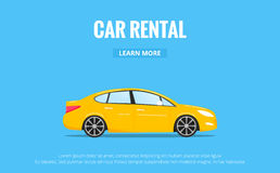 Car rental. Modern automobile in trendy style with typography for advertisement, web projects etc. Banner of car rent Stock Photography