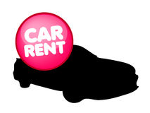 Car rental vector logo. Vector illustration with silhouette of car and badge for car rent service Stock Images