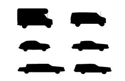 Car rental vehicle types to rent. Vector illustration as silhouette of different type of cars and vehicles you can rent at a car rental, for example a camper, a Stock Photography