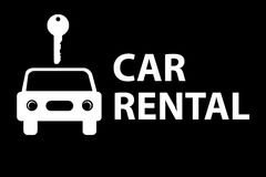 Car rental. In white block letters with illustrated automobile and key on black Stock Photos