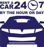 Car rentals by the hour or day 24-7. Vector illustration clip-art Royalty Free Stock Photos