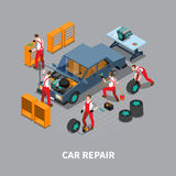 Car Repair Auto Center Isometric Composition. Automobile repair shop with  car undergoing maintenance service in garage isometric composition poster print Stock Photos